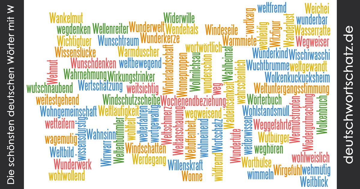 Schöne deutsche Wörter mit W - Deutsch Wortschatz - schönste Wörter - Deutsch lernen - liebe Deutsch