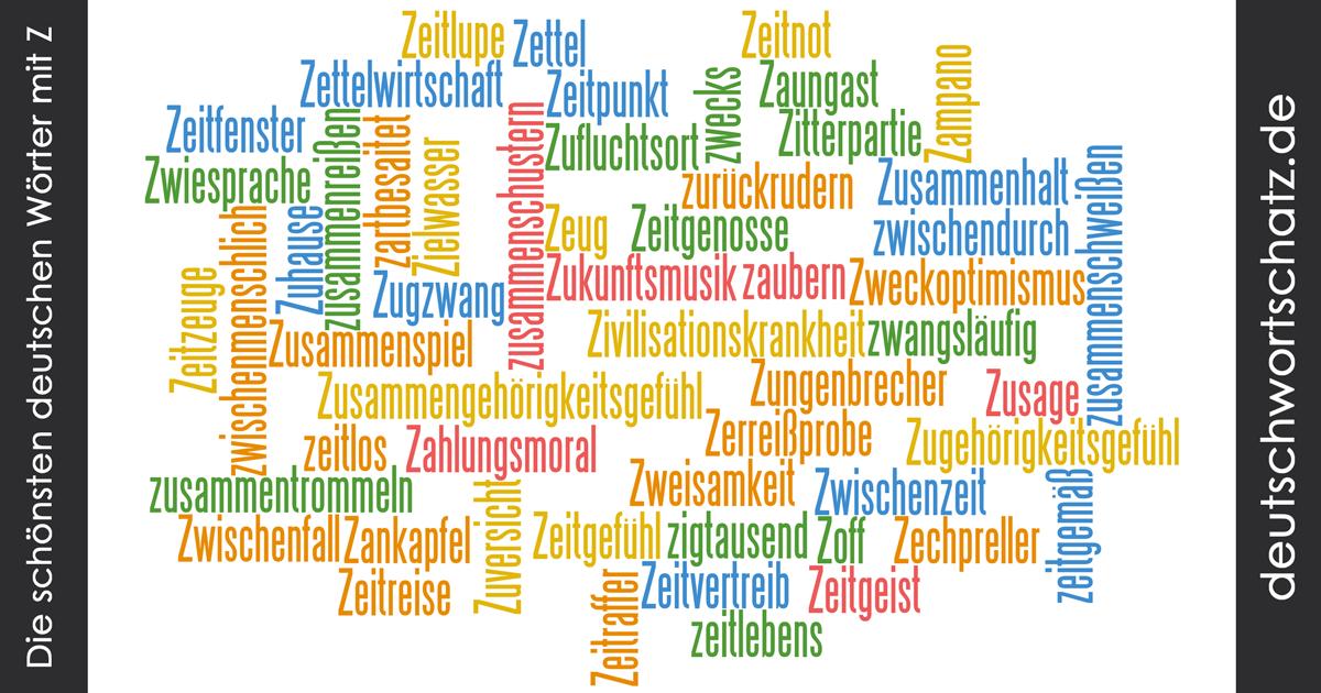 Schöne deutsche Wörter mit Z - Deutsch Wortschatz - schönste Wörter - Deutsch lernen - liebe Deutsch