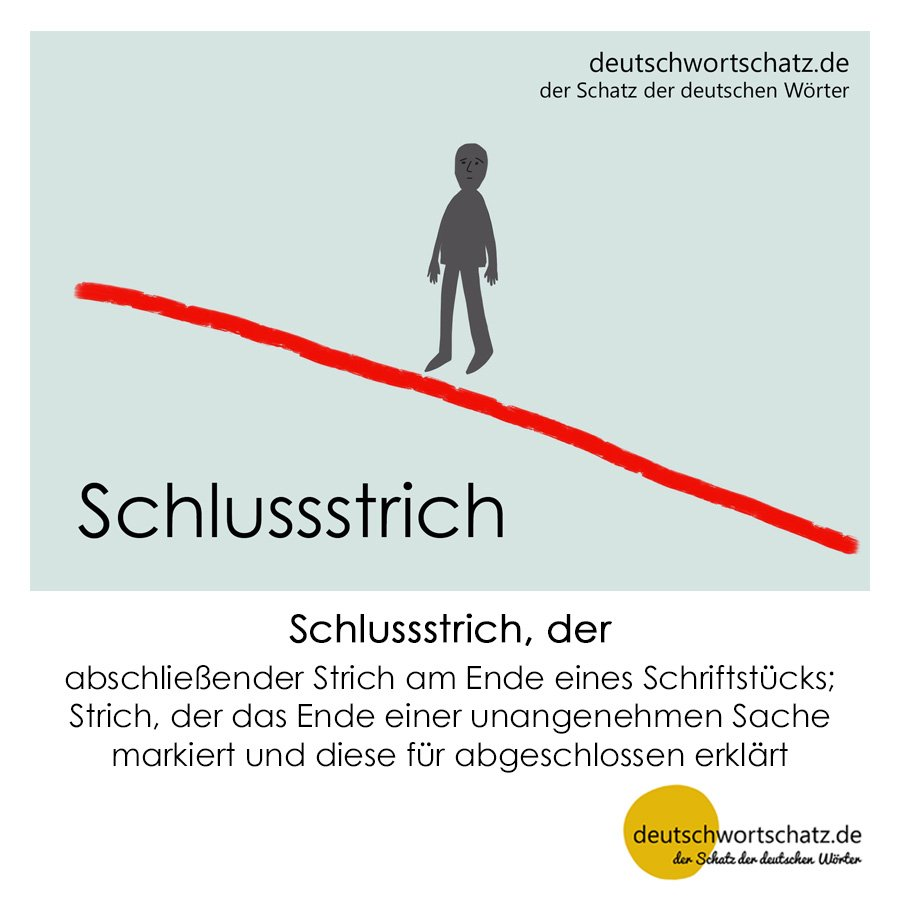 Schlussstrich - Wortschatz mit Bildern lernen - Deutsch lernen