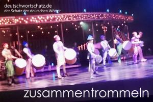 zusammentrommeln - Deutsch Wortschatz - Wortschatzbilder